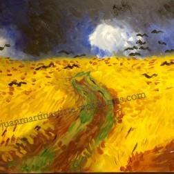 champ de blé avec corbeaux - Bombe aérosol et acrylique - 100x50 - D'après Van Gogh