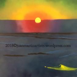 coucher de soleil dans la brume; Bombe aérosol et acrylique - d'après F. Valloton